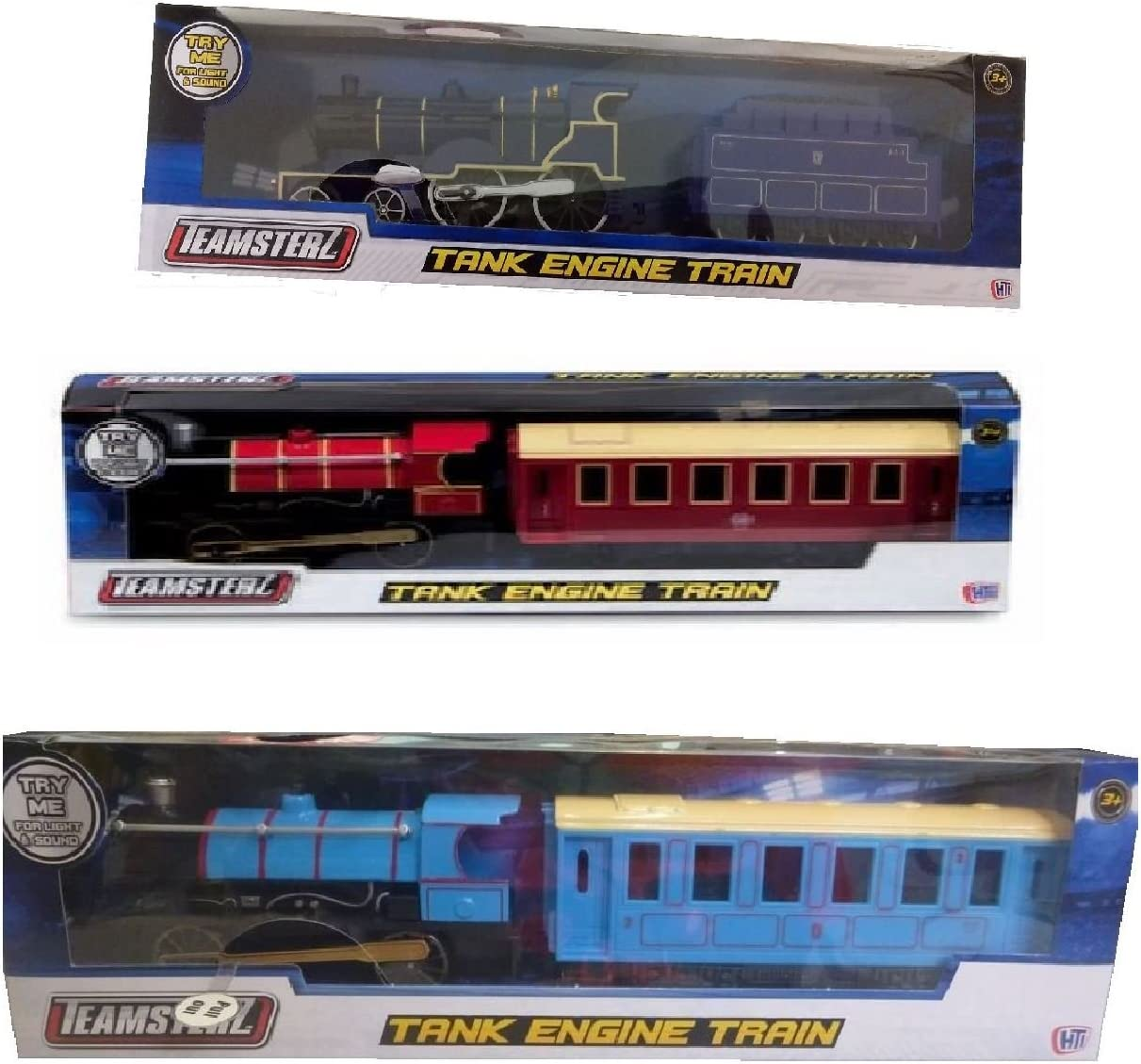 NEW LIGHT AND SOUND TANK ENGINE TRAIN BLUE TEAMSTERS