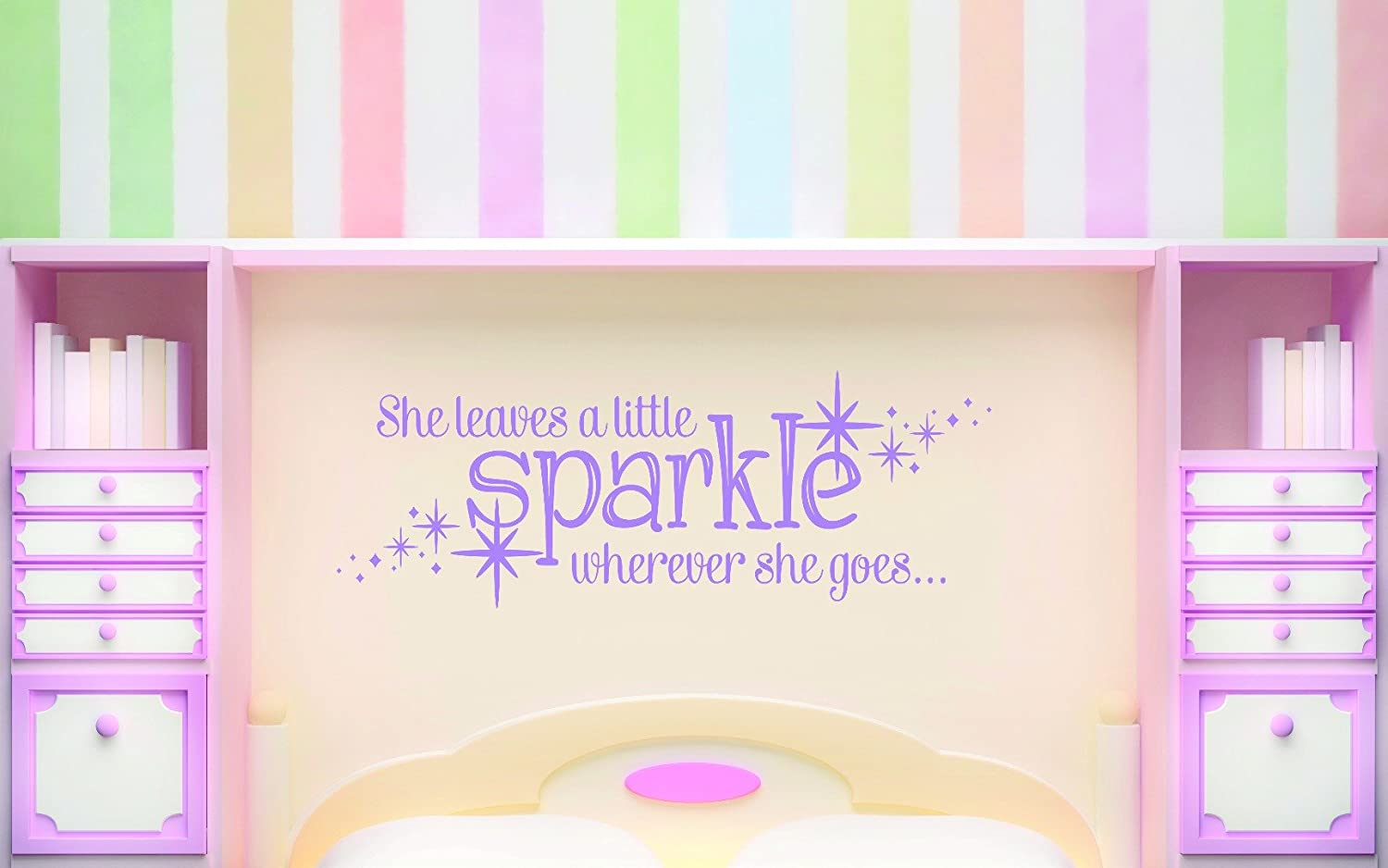 20 x 30 Teen Baby Girl Bedroom Quote Wall Decal Design with Vinyl RAD 733 3 She Leaves A Little Sparkle Wherever She Goes Pink