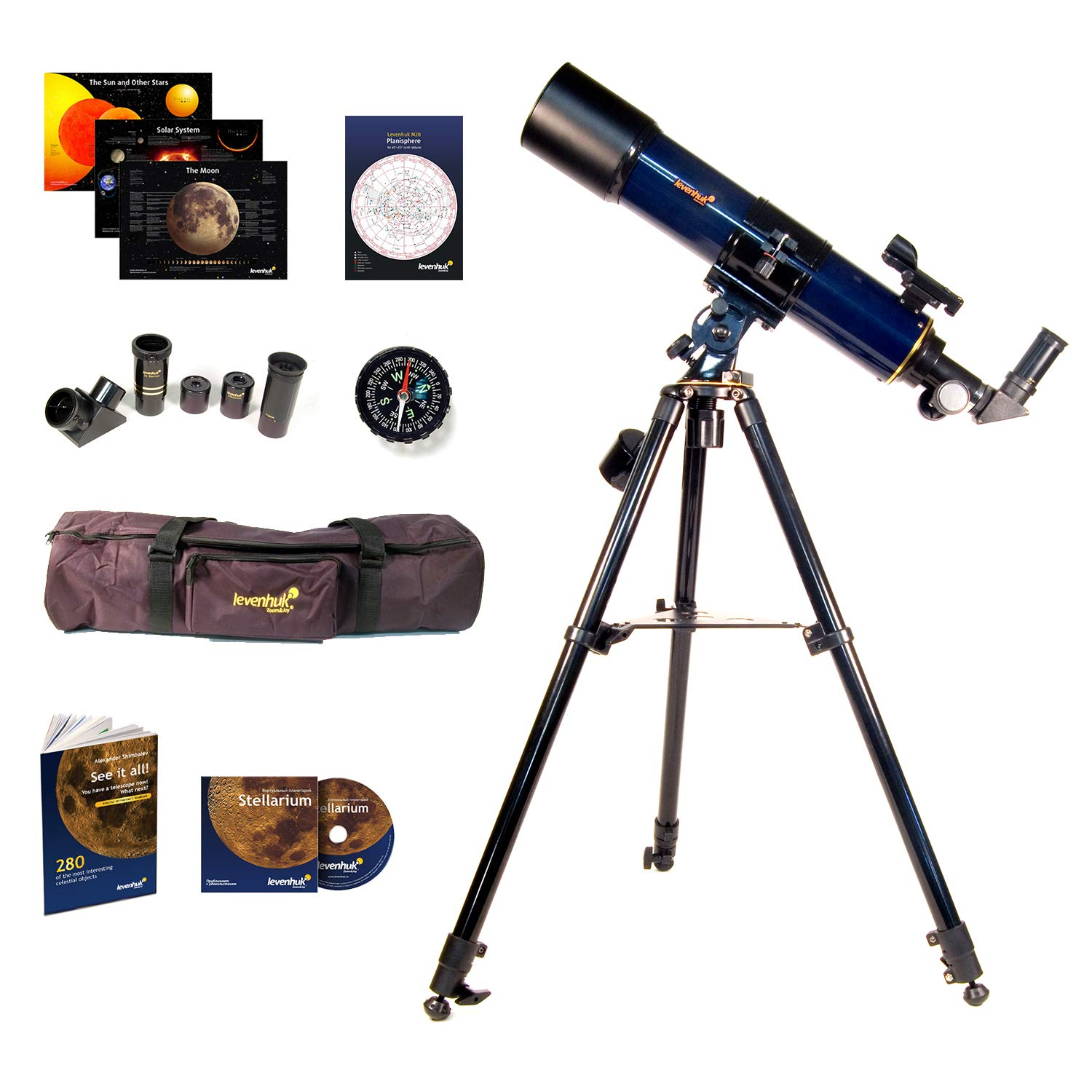 Levenhuk Strike 90 Plus Refractor AZ Mount Telescope - Portable Travel Scope with case and Accessory kit for Beginners by Levenhuk