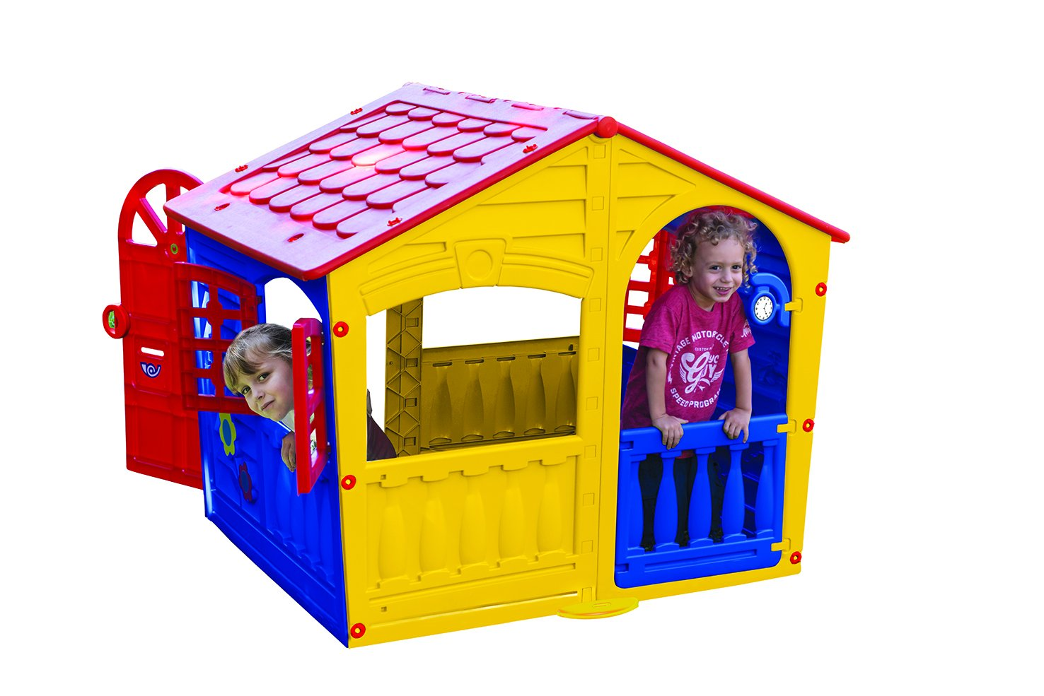 Palplay House of Fun Outdoor Play House Yellow Red Blue ; Medium