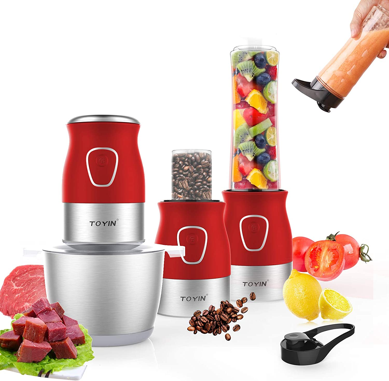Electric Food Processor Chopper blender coffee Meat grinder 3 in 1 Set Mini 2L Stainless Steel Kitchen for Vegetables, Fruits and Spices, 4 Detachable Dual Layer Blades (Wine Red)