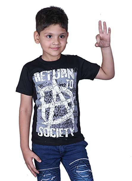 Brandsoon WWE T Shirt for Kids Cotton Half Sleeve Black