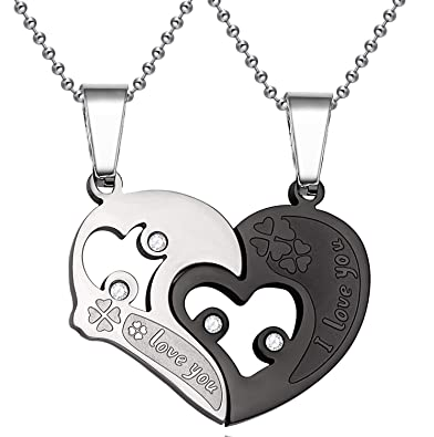 29811e6fbe SHINYSO Stainless Steel Mens Womens Couple Pendant Necklace Love Heart CZ I  Love You Puzzle Matching | Amazon.com