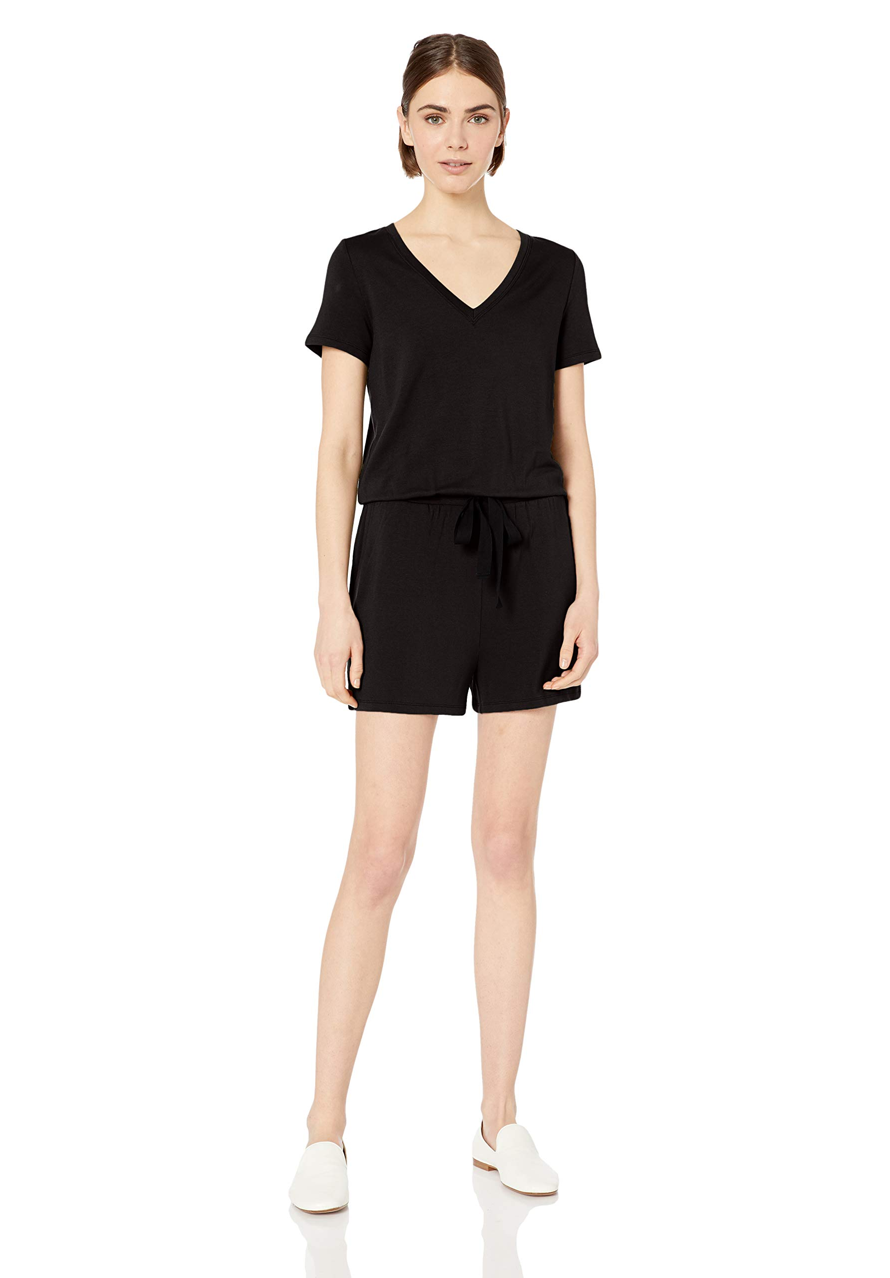 Amazon Brand - Daily Ritual Women's Supersoft Terry Short-Sleeve V-Neck Romper, Black, Medium by Daily Ritual