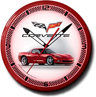 """product image for Corvette C6 Red Genuine Vette Emblem Neon Wall Clock 20"""" Made In USA, 110V Electric, Aluminum Spun Case, Powder Coated Finish, Glass Face, Brass Movement, Pull Chain, 1 Year Warranty"""