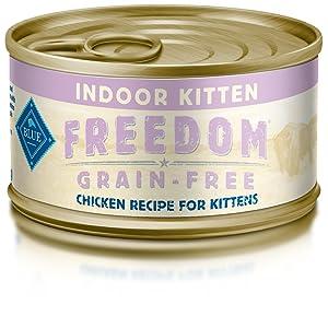 Blue Freedom Kitten Indoor Grain Free Pate Chicken Wet Cat Food 3-Oz