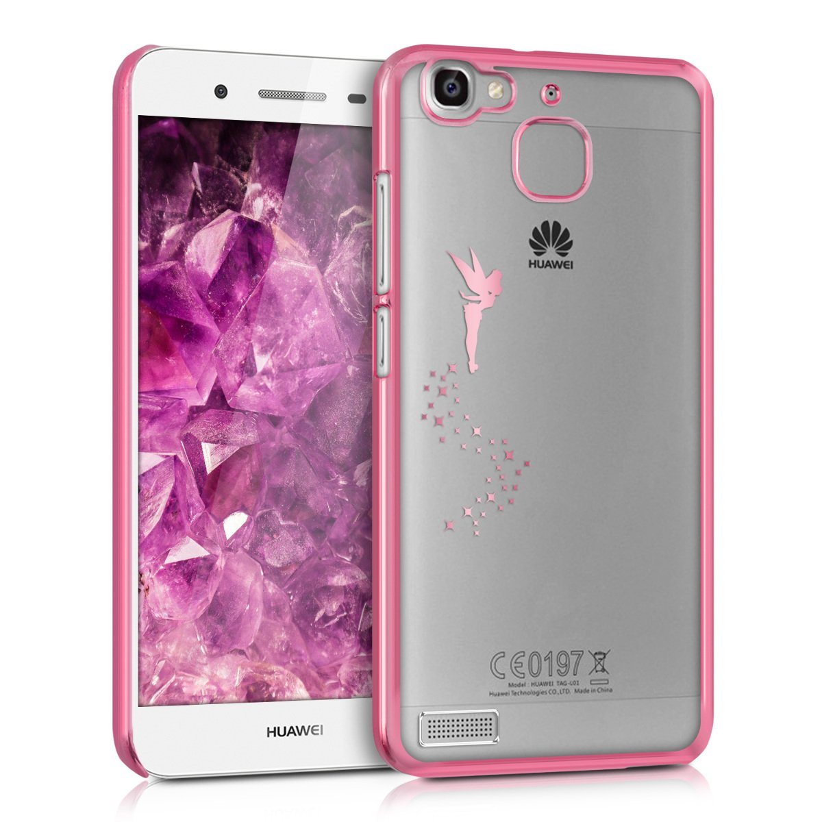 kwmobile Crystal TPU Case for Huawei GR3 / P8 Lite Smart - Soft Flexible Transparent Silicone Protective Cover - Dark Pink/Transparent