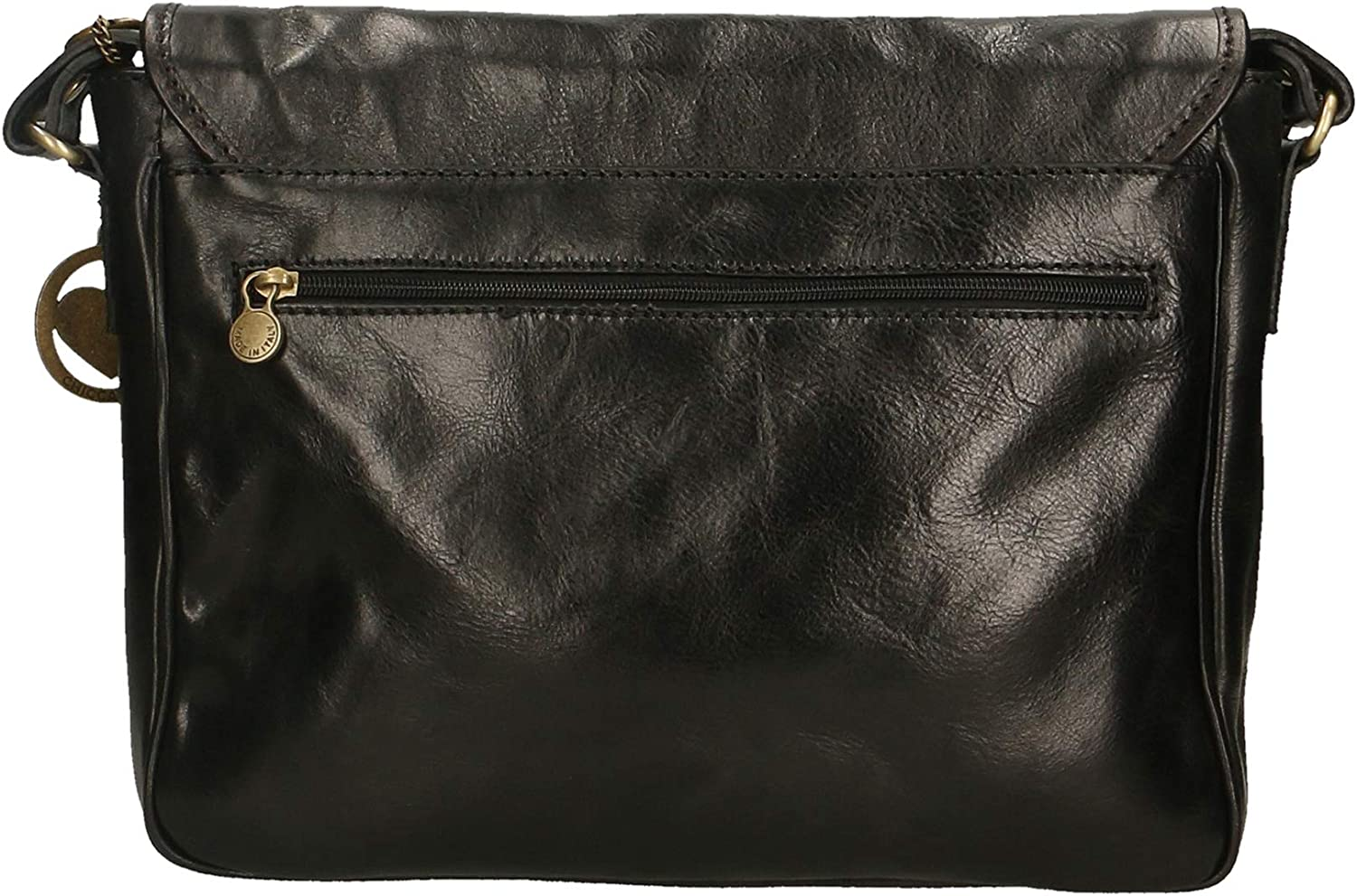 Chicca Borse Leather in Genuine Leather Made in Italy 32x28x8 cm Black