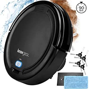 Knox Robot Vacuum Cleaner with Mopping Cloth – Dual Rotating Brushes for Hardwood Floors, Tiles, Pet Hair – Smart Anti Fall Sensor, 90 Minute Run Time - 2 x Bonus Side Brushes and 2 x Filters