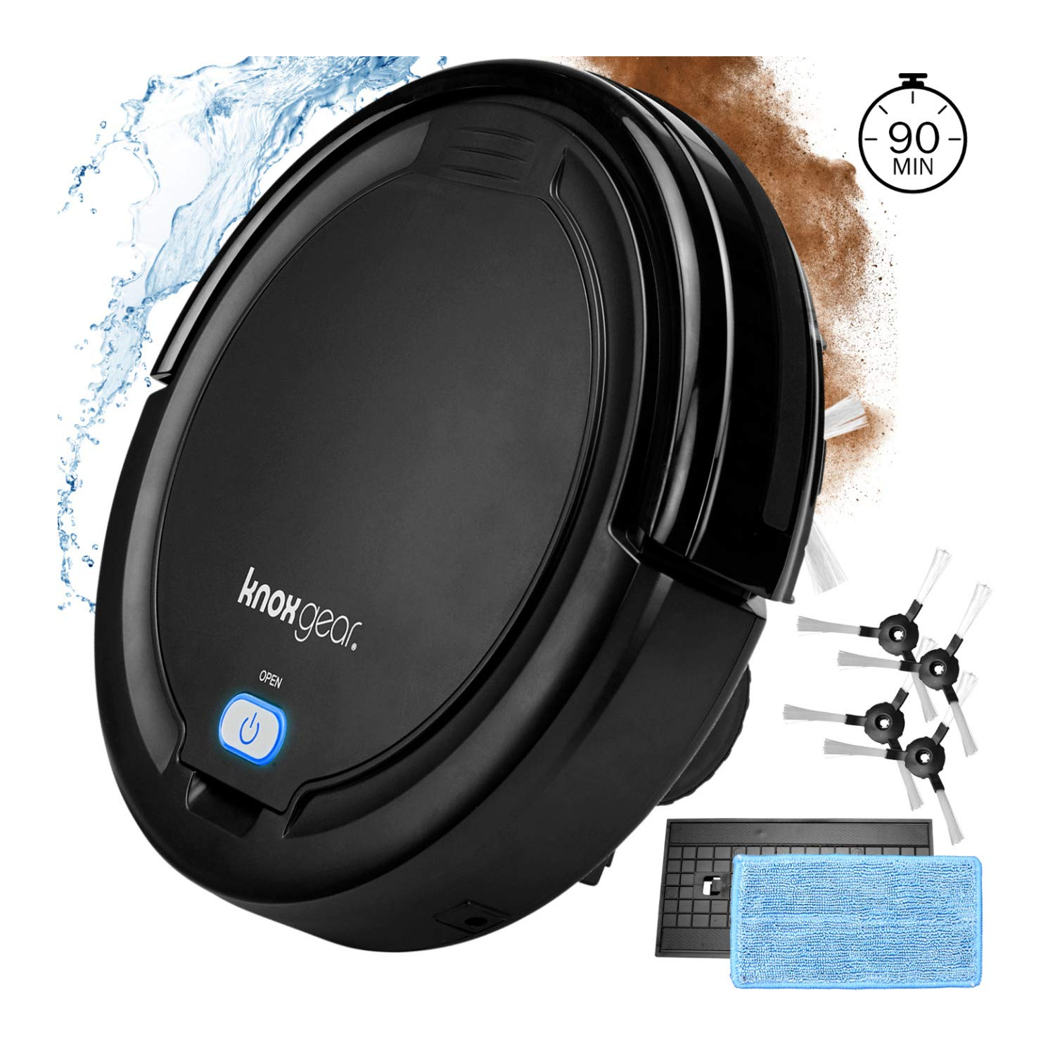 Knox Robot Vacuum Cleaner and Mop - Dual Rotating Brushes for Hardwood Floors, Tiles, Pet Hair - Smart Anti Fall Sensor, 90 Minute Run Time - 2 x Bonus Side Brushes and 2 x Filters by Knox