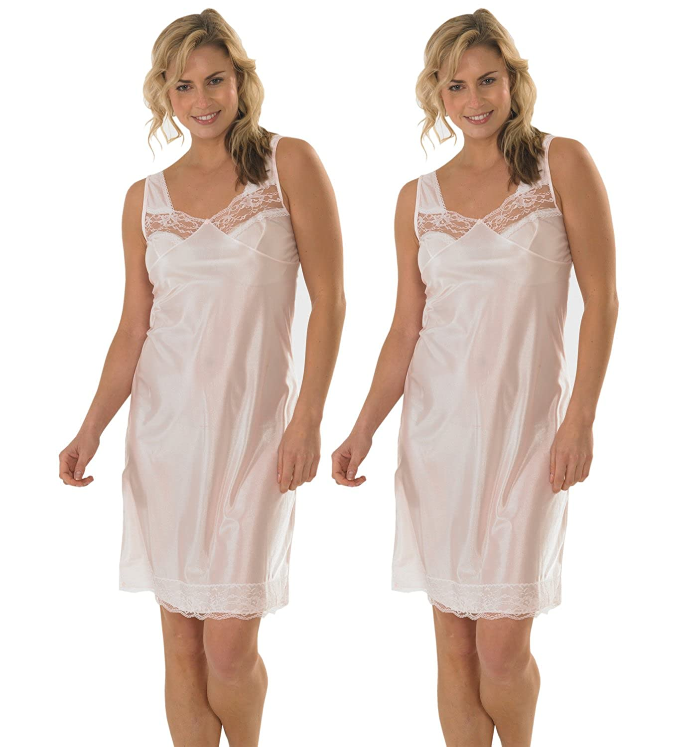 2 Pack Womens/Ladies Anti Static Full Slip Underskirt Built Up Shoulder With Front & Bottom Lace, Various Sizes & Colours