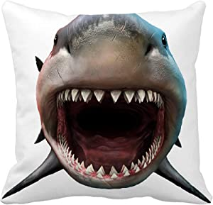 Awowee Throw Pillow Cover Bite Shark Biting 3D Front Megalodon Teeth Prehistoric Attacking 16x16 Inches Pillowcase Home Decorative Square Pillow Case Cushion Cover