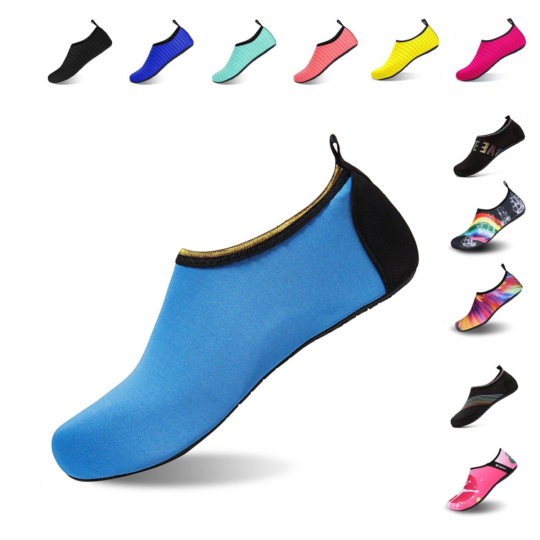 Mens Womens Water Shoes Barefoot Beach Pool Shoes Quick-Dry Aqua Yoga Socks for Surf Swim Water Sport (Blue.Jin, 40/41EU)