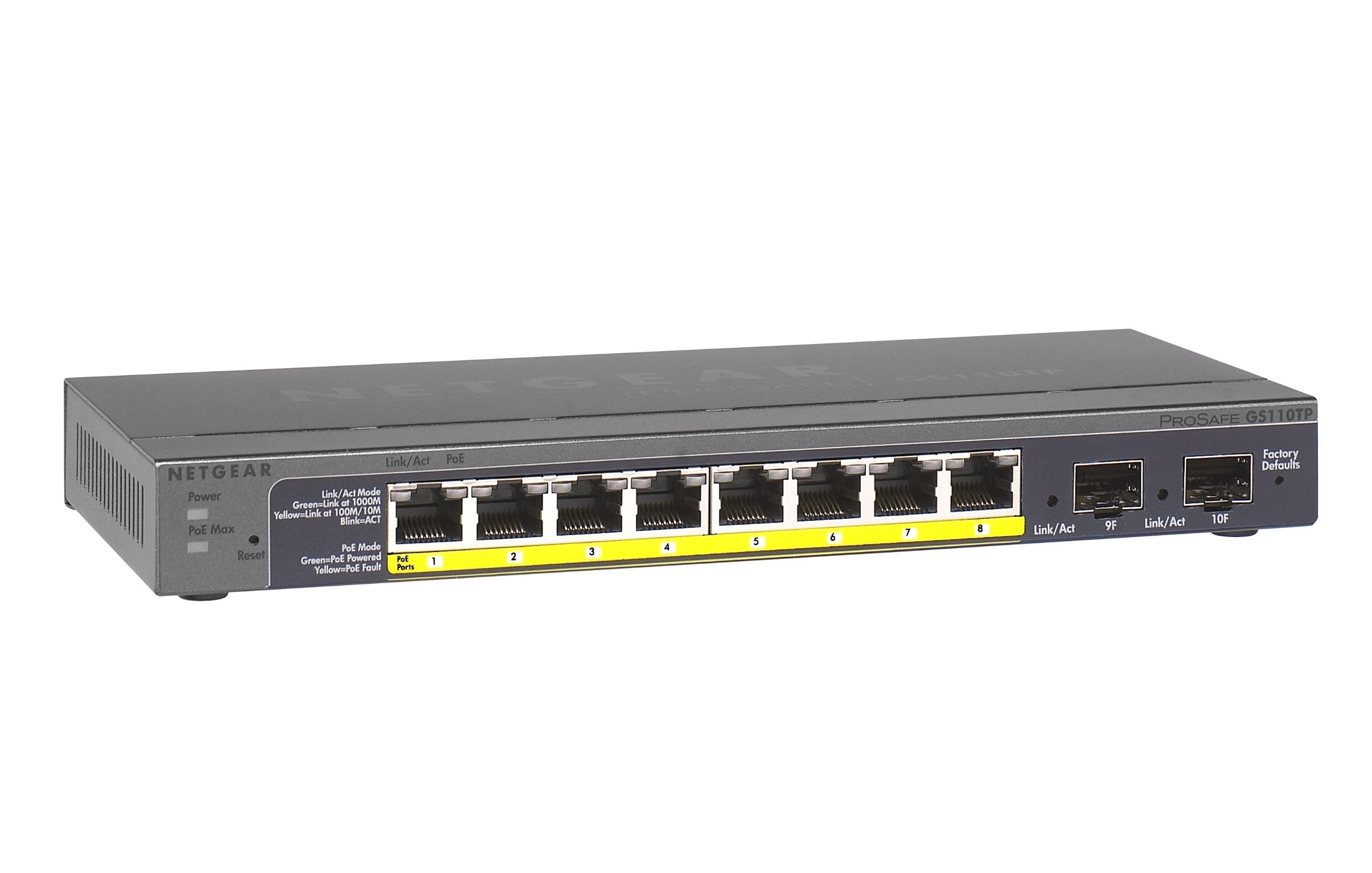 NETGEAR 8-Port Gigabit Smart Managed Pro Switch, 53w, PoE, ProSAFE Lifetime Protection (GS110TPv2)