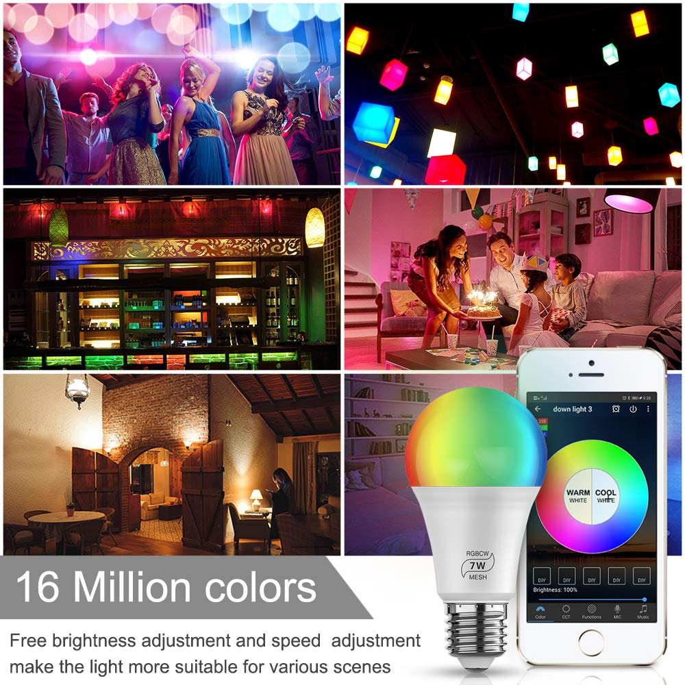 Smart Light Bulb 50W Equivalent 500LM Multicolored RGB CCT Smart Lighting FVTLED 4pcs Bluetooth Mesh RGBCW Dimmable Color Changing LED WiFi Bulbs E26 7W