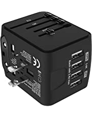 Jollyfit International Universal Travel Adapter USB Charger AC Power Wall Plug US UK AU EU Worldwide 150 Countries with Safe Fuse for Europe Asia Germany France Italy India China Russia American British European Adapter (4 USB, Black)