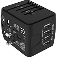 Jollyfit International Universal Travel Adapter 4 USB Charger AC Power Wall Plug US UK AU EU Worldwide 150 Countries with Safe Fuse for Europe Asia Germany France Italy India China Russia American British European Adapter