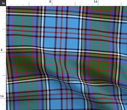 fa4cdd771c Spoonflower Blue Plaid Fabric - Blue Red Green Yellow Plaid Tartan Anderson  Family Tartan Blue Plaid