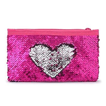 80307b24c0ce Cute Kids Pencil Case Glitter Reversible Sequin Pen Pencil Pouch for Girls  Cosmetic Makeup Organizer Bag Purse for Women(Rose Red)