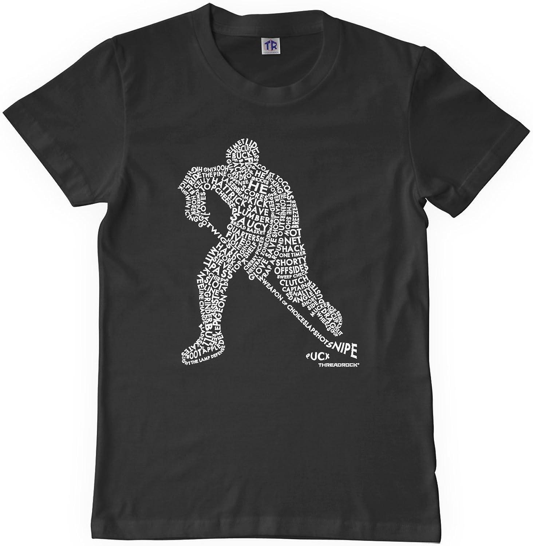Threadrock Big Boys' Hockey Player Typography Design Youth T-shirt