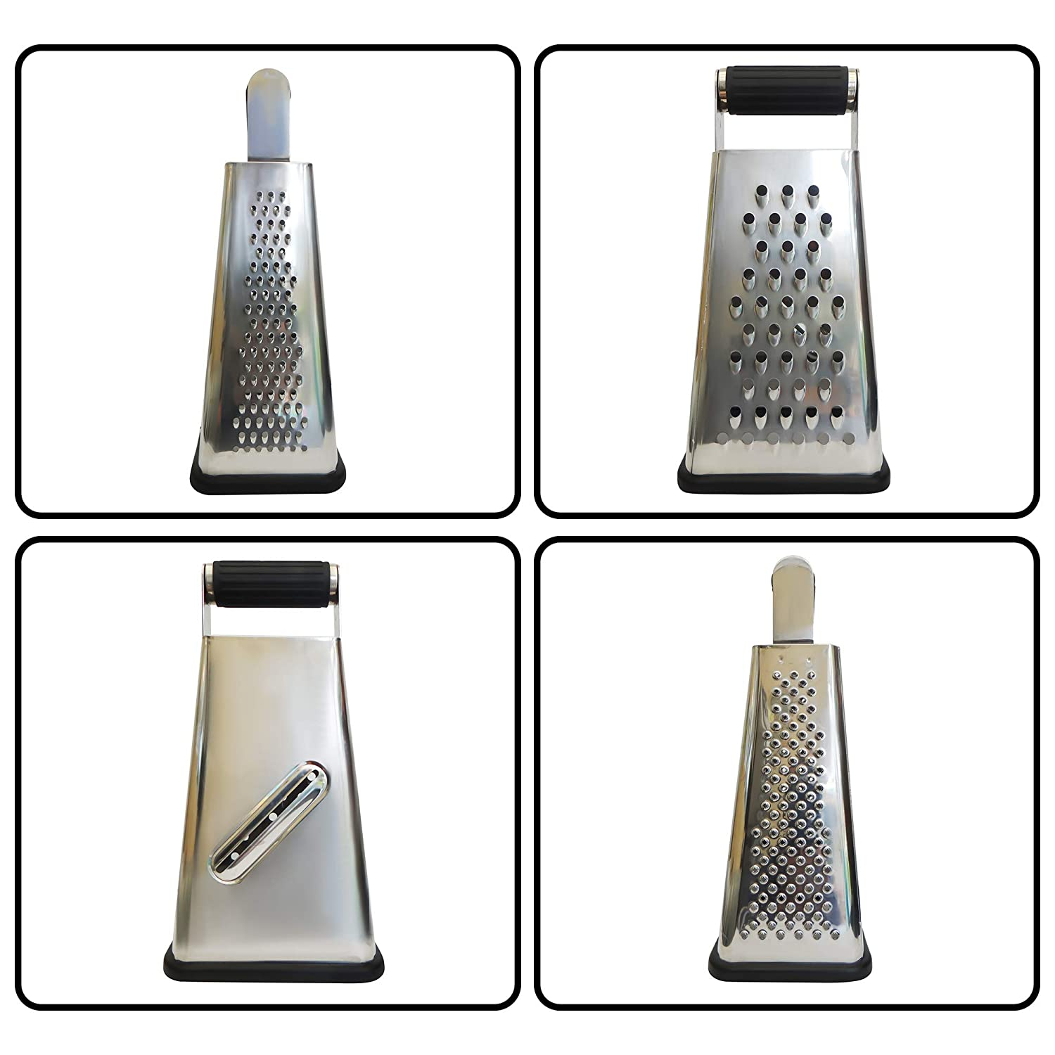Box Grater With Container to Catch and Store Shavings - Our 4 Sided Cheese Grater Is Perfect For Grating, Zesting and Slicing - Made From Commercial Grade Stainless Steel Which will NOT RUST Sharper Retail Ltd COMINHKPR118580