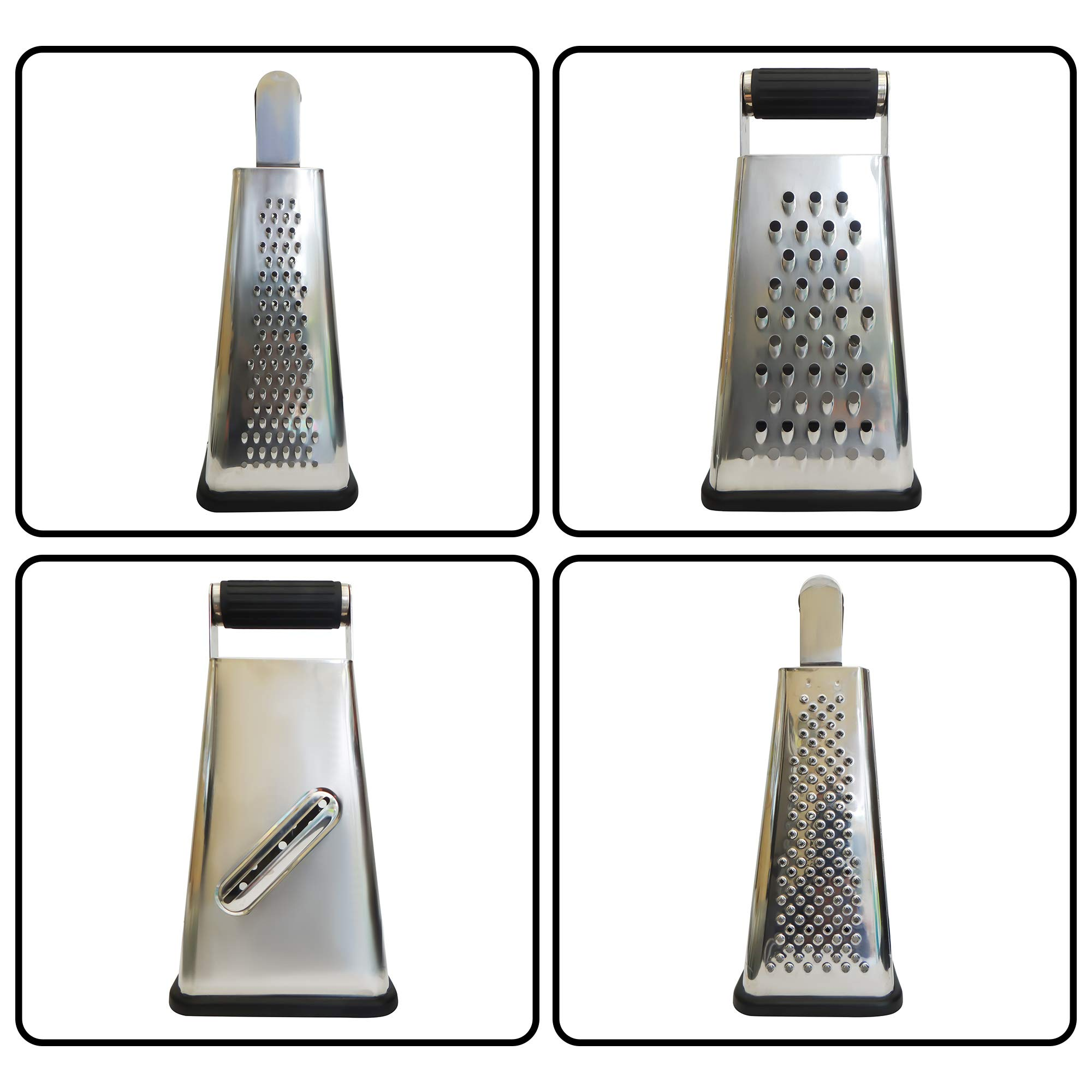 Box Grater With Container to Catch and Store Shavings - Our 4 Sided Cheese Grater Is Perfect For Grating, Zesting and Slicing - Made From Commercial Grade Stainless Steel Which will NOT RUST