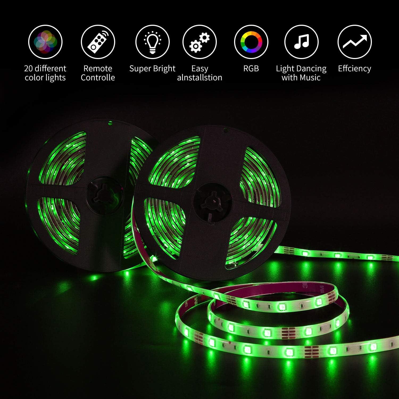 Striscia Led RGB 10m con Telecomando a 48 tasti 5m*2 Strisce Led 5050 Multicolore 300 LEDs Impermeabile IP65 SMD