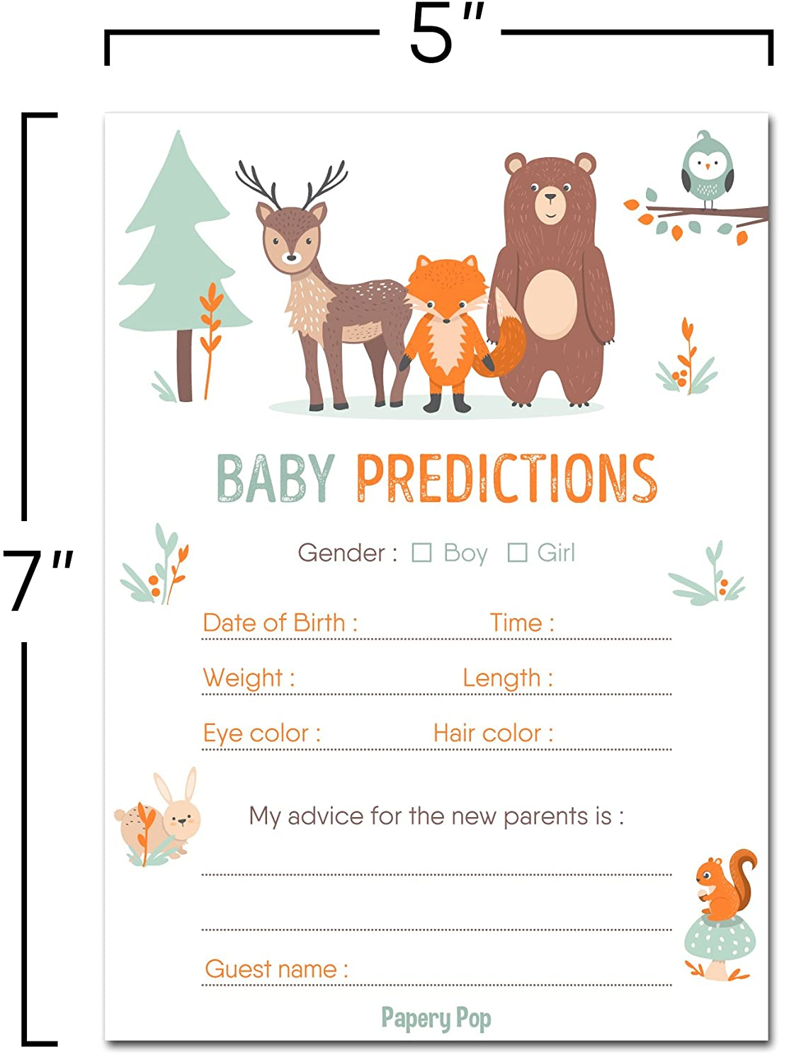 30 Baby Shower Prediction and Advice Cards Baby Shower Games Decorations Activities Supplies Invitations Boy or Girl Woodland Animals