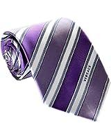 Versace Men's Striped Woven Silk Necktie Purple