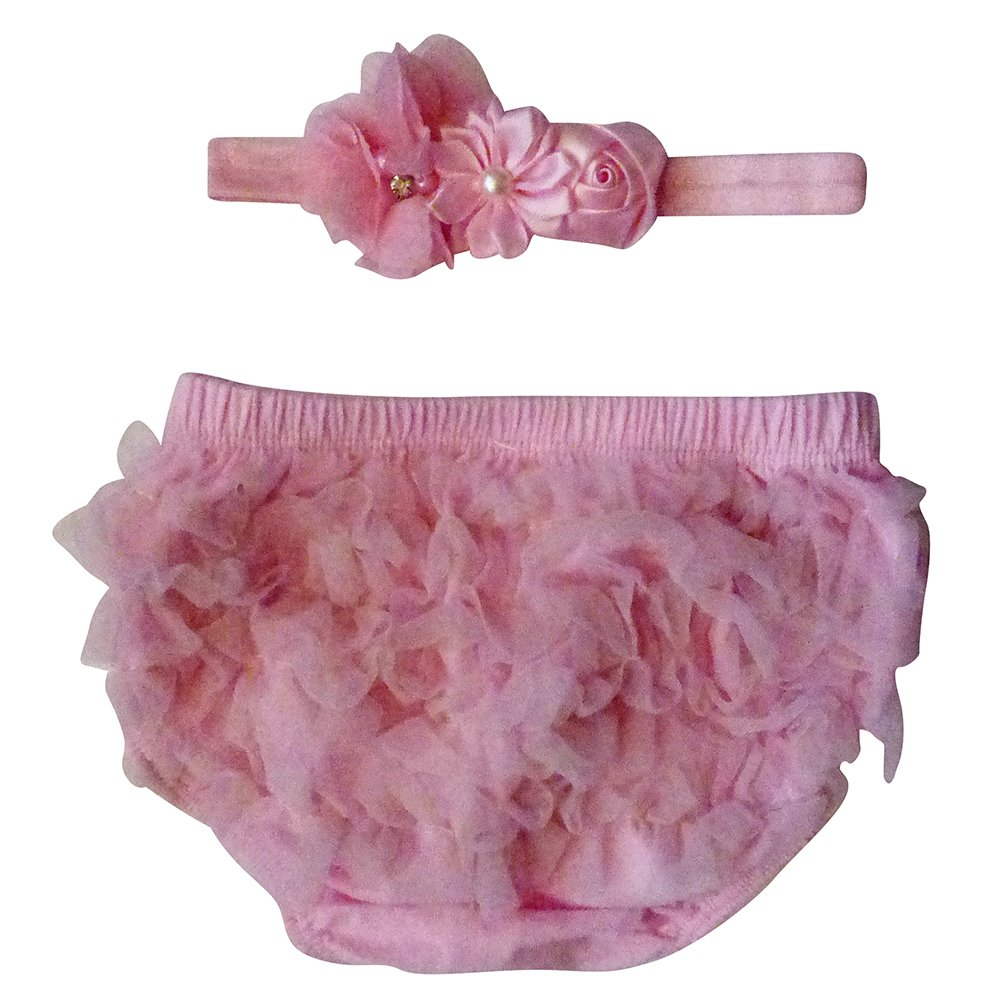 The Ruffled Bum Pink Chiffon Bloomer Diaper Cover with Matching Headband