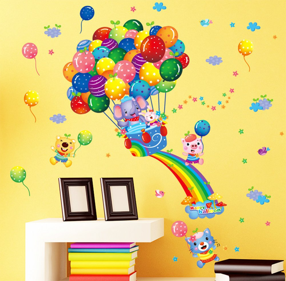 Amazon.com: Cartoon Wall Decals Rainbow Animal Stickers Hot Air ...