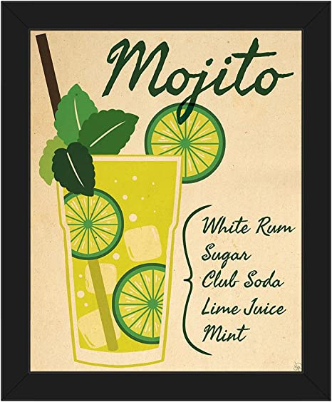 Amazon Com Mojito Paper Recipe Mix Graphic Illustration In Collins Drink Glass Kitchen Bar Pub Wall Art Print On Canvas With Black Frame Posters Prints
