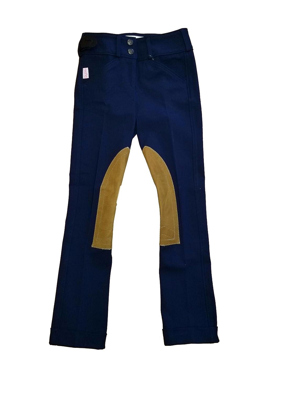 Tailored Sportsman GirlsトロフィーハンターLow Rise Jodhpurs 3969 10R Black&Blue Tan Patch B075VYLWFR