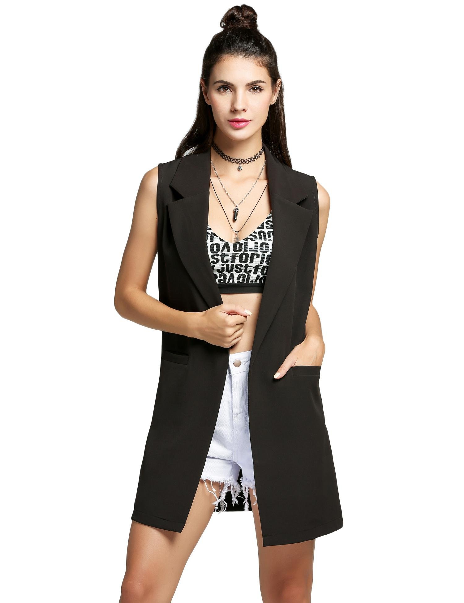 Women Casual Sleeveless Solid Vest Trench Coat With Pockets Long suit coat Waistcoat Cardigan (XX-Large, Black)