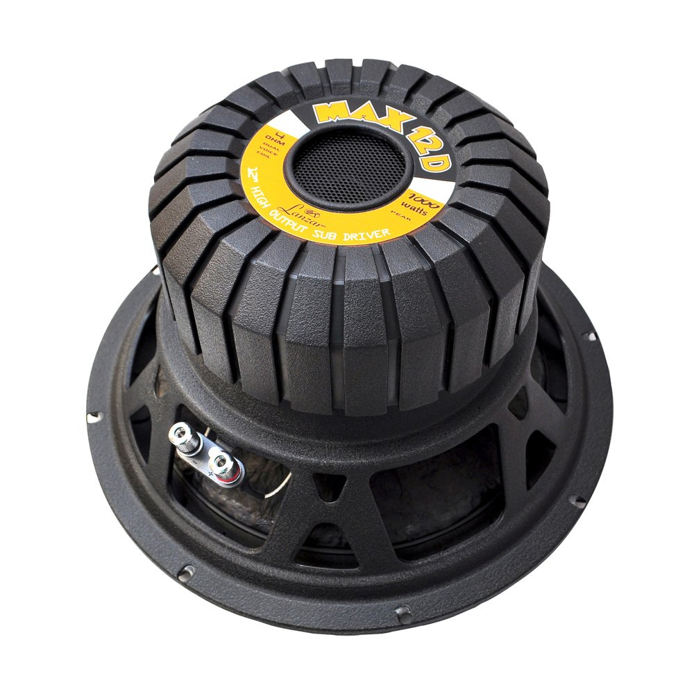 Lanzar 12in Car Subwoofer Speaker - Black Non-Pressed Paper Cone, Stamped Steel Basket, Dual 4 Ohm Impedance, 1000 Watt Power and Rubber Suspension for Vehicle Audio Stereo Sound System - MAX12D