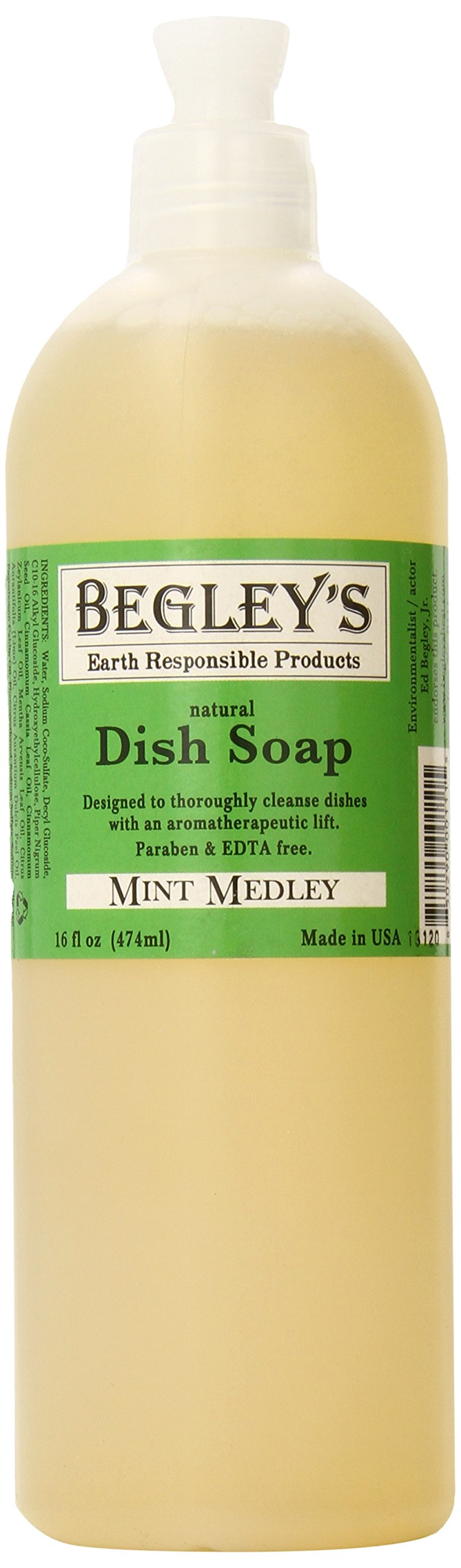 Begley's Natural Dish Soap, Mint Medley, 16 oz, Pack of 6