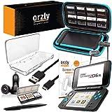 ORZLY® Accessori 2DSXL, Kit New Nintendo 2DS XL (Confezione Include: Caricabatterie Auto/Cavo di Ricarica USB/Custodia per Console/Custodie per Cartucce e Molto Altro. (Vedi Descrizione)