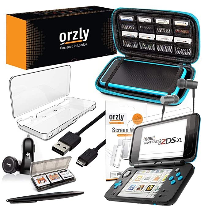Orzly 2DSXL Accessories, Ultimate Starter Pack for New Nintendo 2DS XL (Bundle Includes: Car Charger/USB Charging Cable/Console Case/Cartridge Cases & ...