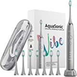 AquaSonic VIBE series Ultra Whitening Electric Toothbrush - 8 DuPont Brush Heads & Travel Case Included - Sonic 40,000…