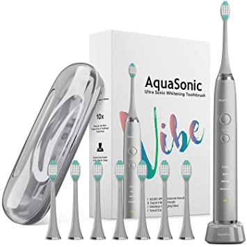 AquaSonic VIBE series Ultra Whitening Electric Toothbrush - 8 DuPont Brush  Heads & Travel Case