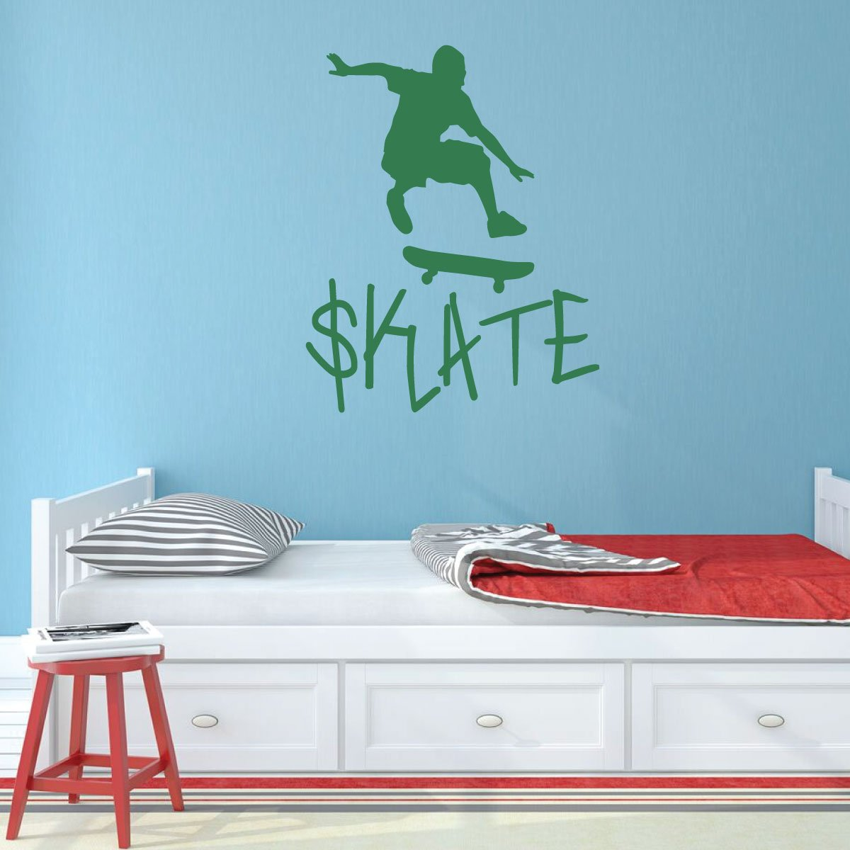 SKATEBOARD SKATER PERSONALIZED CUSTOM NAME Bedroom Vinyl Wall Decal Lettering