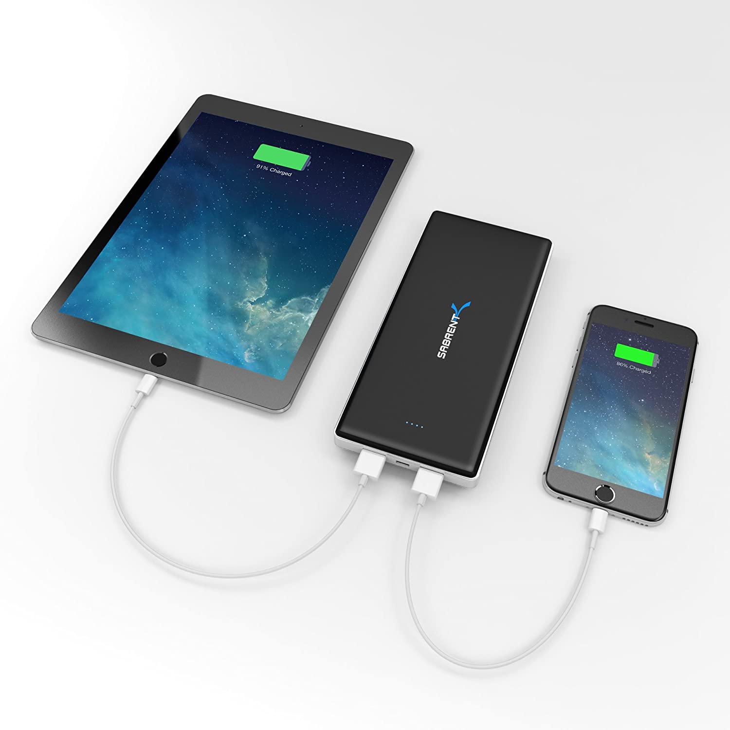 3649ee2c2a7274 Amazon.com: Sabrent 12000mAh High Capacity External Backup Battery Charger  Power Bank Charger with Dual USB Port (PB-W120): Cell Phones & Accessories