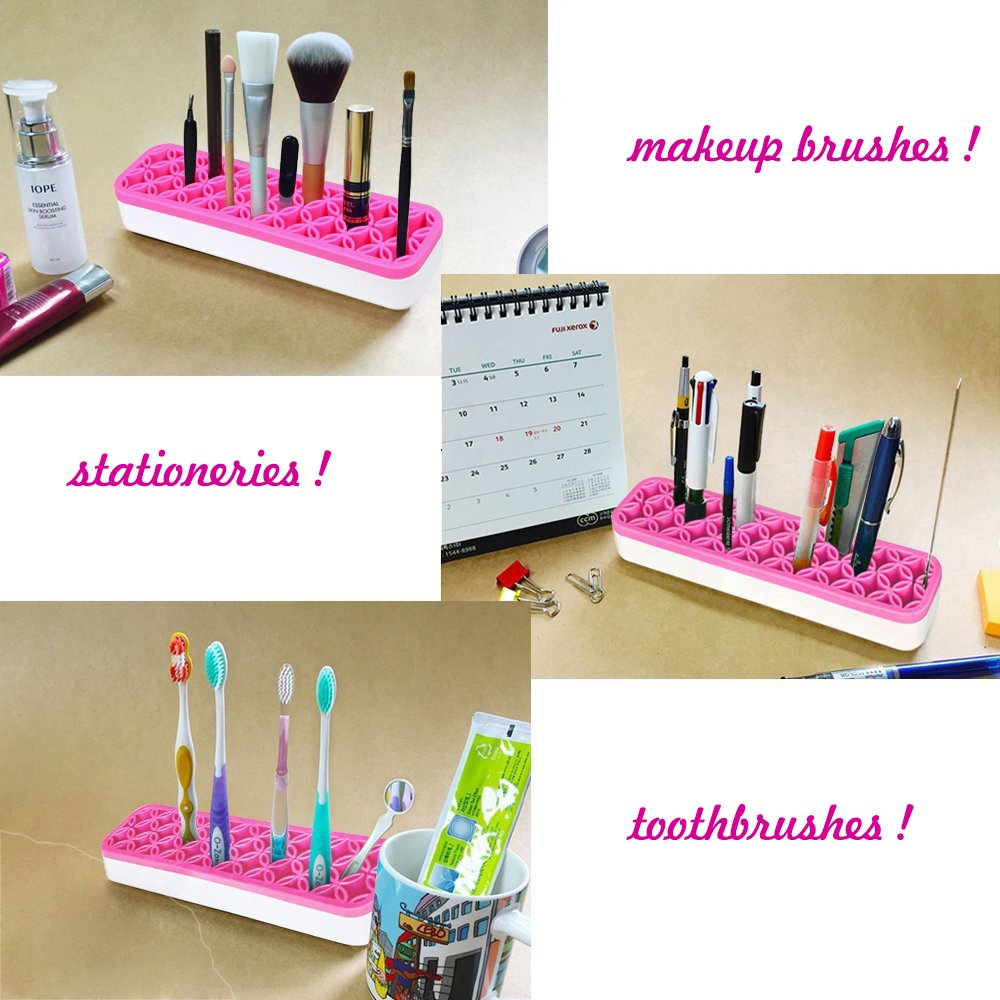 Windaze Portable Cosmetic Makeup Brush holder Organizer Silicone Case Storage (Pink)