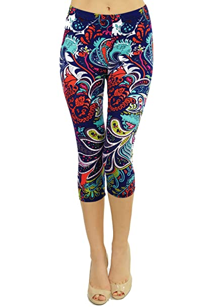VIV Collection Print Brushed Ultra Soft Cropped Capri Leggings Regular and Plus (Sizes XS - 2XL) Listing 1