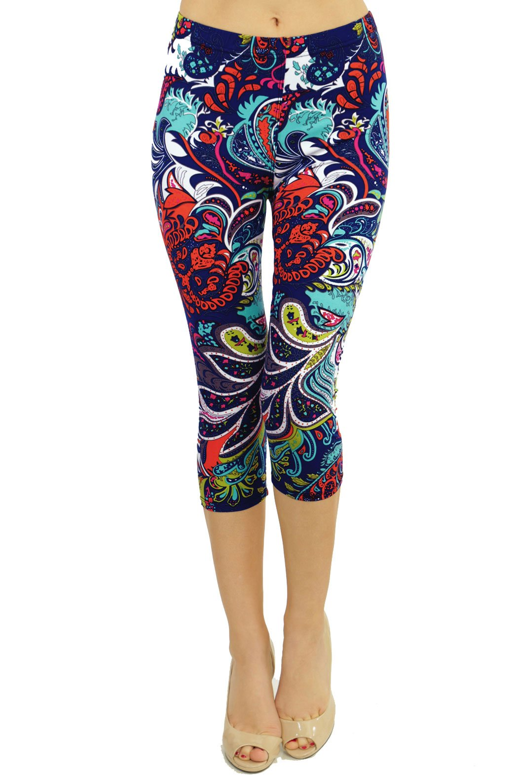 VIV Collection Plus Size Printed Brushed Capris (Chromatic Splash)