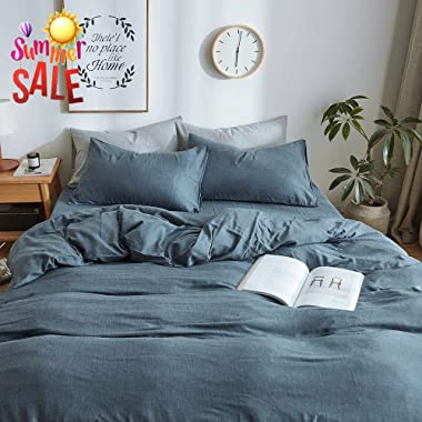 Modern Soft Solid Blue Duvet Cover Set Queen 3 Piece Luxury Bedding Set Full Lightweight Double Yarn Cotton Duvet Quilt Cover Set with Zipper Closure and Corner Ties Queen Bedding Collection