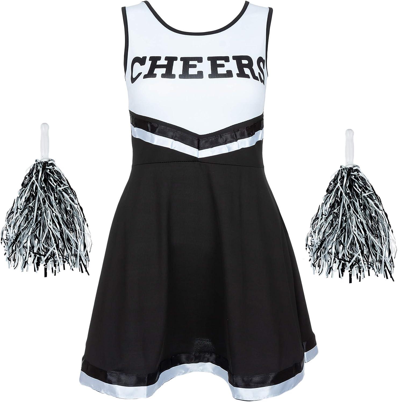 High School Cheer Girl Uniform Cheerleader Fancy Dress Costume Outfit w// Pompoms