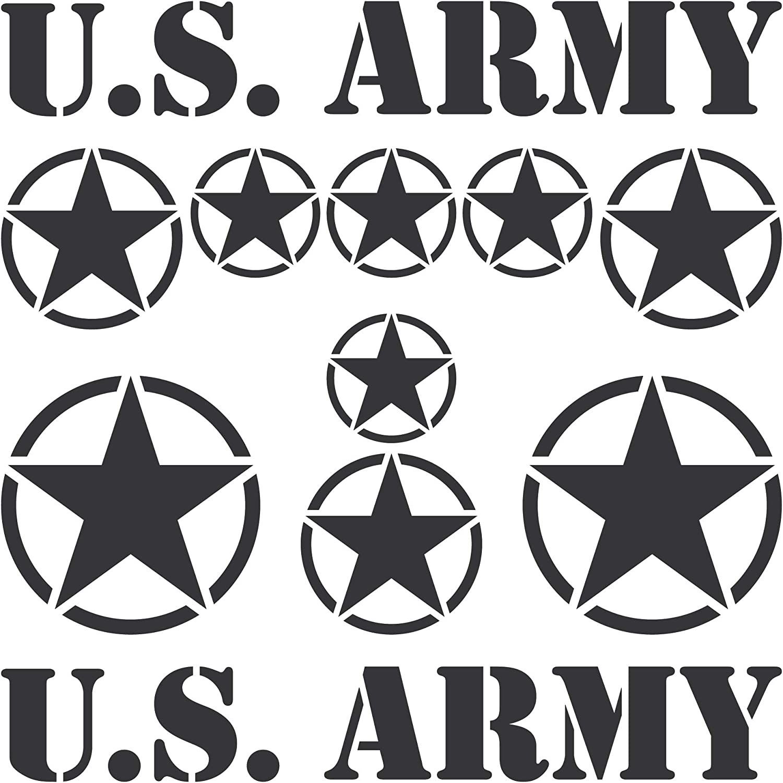 Greenit Set Sterne Schriftzug Us Army Mp Jeep Tuning Aufkleber Tattoo Die Cut Car Decal Auto Deko Folie Schwarz Matt Auto