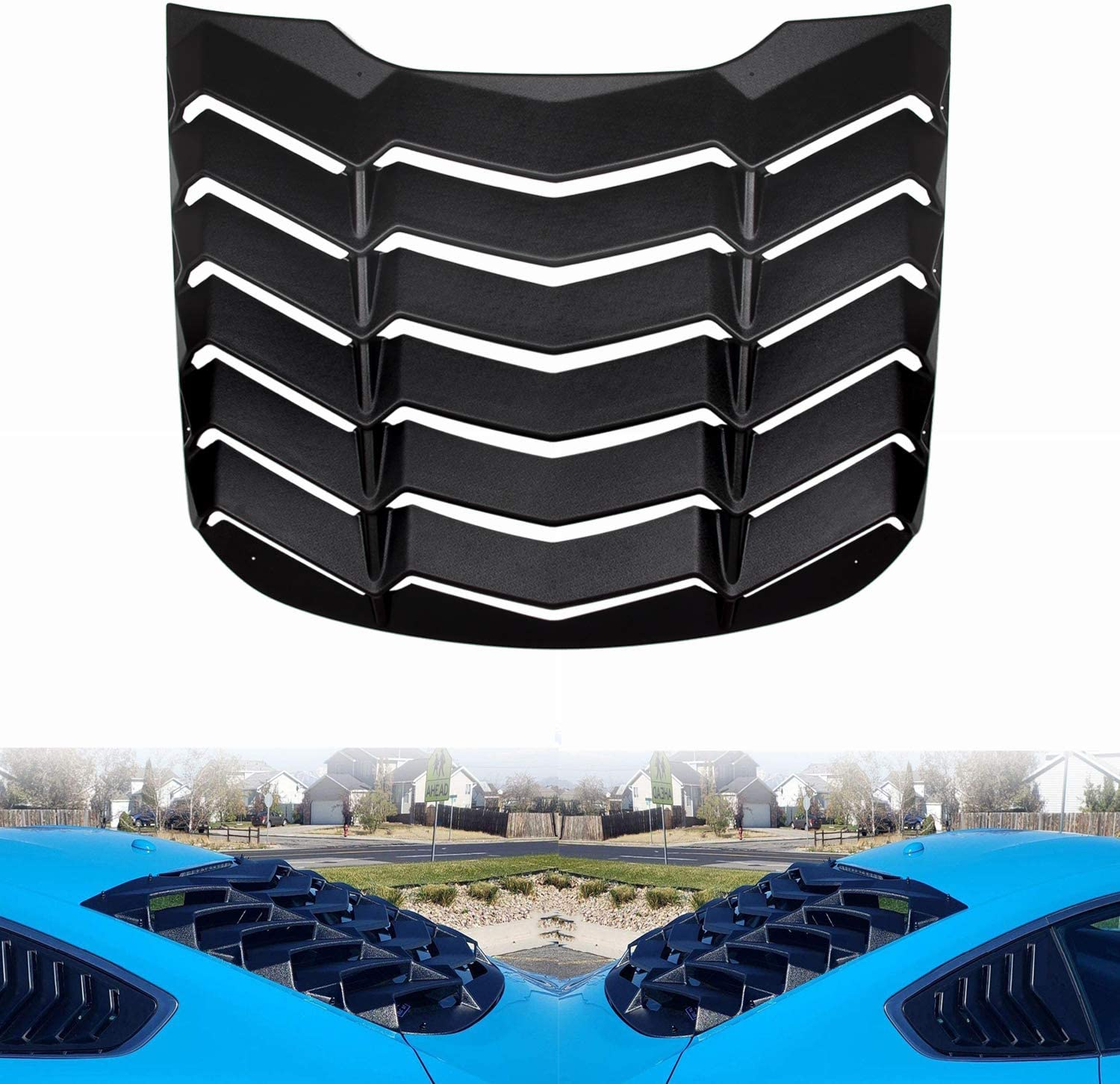 Rear+Side Window Louvers Windshield Sun Shade Cover ABS for Ford Mustang 2015 2016 2017 2018 2019 2020 in GT Lambo Style Custom Fit Matte Black