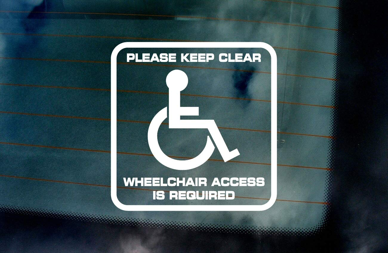 Please Keep Clear Wheelchair Access Is Required Disabled Car Sticker Disability Blue Badge Holder Vehicle Van Window Bumper Vinyl Decal Sign Notice